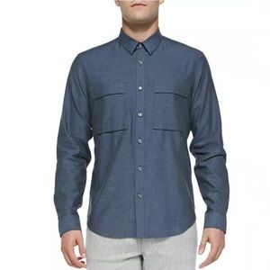THEORY Spencer Findlaye Cotton Flannel Shirt
